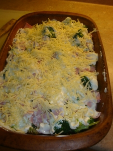Broccoli noodle casserole ham recipe