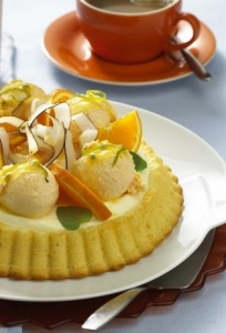 Butter milk and mascarpone tart with mango and passion fruit ice cream scoops Biscuits recipe