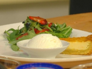 Goat cheese tart with strawberry arugula and goat cheese sorbet Biscuits recipe