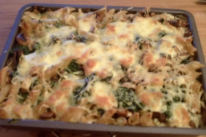 Mushroom pasta bake with spinach and smoked tofu Pasta Bake recipe