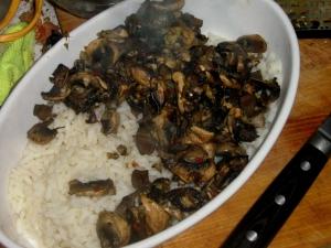 Mushroom rice gratin