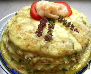 Rapid pancakes cake with tuna crab blue cheese and arugula Other recipe