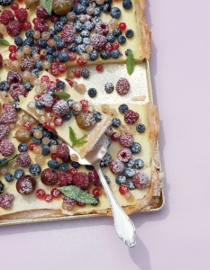 Sheet cake with summer berries breakfast Sheet Cake recipe
