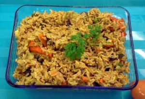 Asian rice dish with ground turkey leftovers