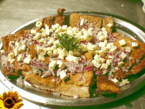 Bulgarian feta cheese and pork with red onions