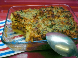Casserole with boiled potatoes and minced meat leftovers