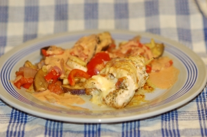 Chicken roulade stuffed with cheese amp vegetables