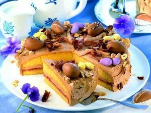 Chocolate hazelnut cake with sugar and chocolate eggs