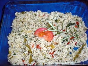 Colorful Cross cooking rice rice with radish olives and basil