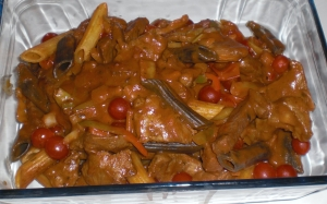 Colorful penne with beef