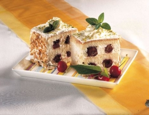 Cube cake with cherries