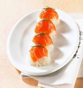 Egg cup sushi with salmon