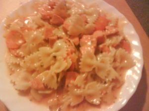 Farfalle with salmonlemon sauce