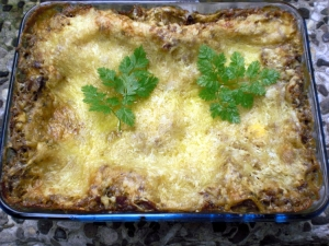 Lasagna with feta cheese and ground beef