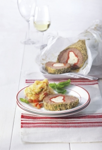 Meatloaf cooked in parchment paper