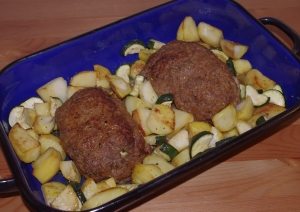 Meatloaf stuffed with zucchini and feta cheese lowcooked
