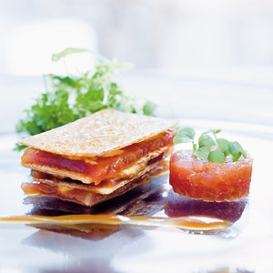 Millefeuille of marinated tuna with tuna tartar and tuna cream