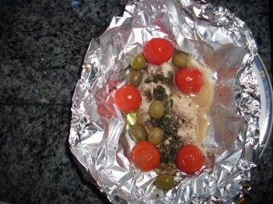 Redfish fillets in foil