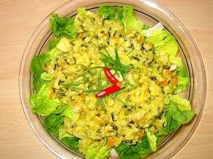 Rice salad with wild rice pineapple and turkey