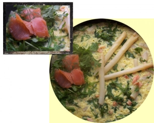 Salmon with arugula and asparagus Omelette