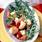 Shrimp with red currant sauce and chili