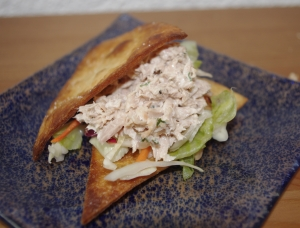 Tuna sandwich with tortilla chips finger food