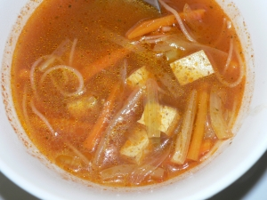 Asian soup with tofu spicy and sweet and sour
