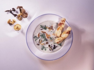 Cream of forest mushroom soup with cheese straws