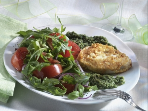 Turkey-piccata-with-salsa-verde-and-tomatoarugula-salad