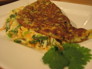 Juicy cheese omelette with Gemseraspeln