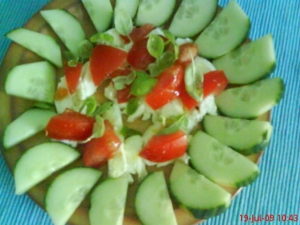 Tomatocucumber salad with mozzarella