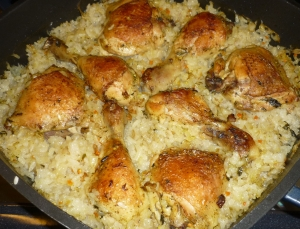 Chicken Drumsticks With Rice From The Oven