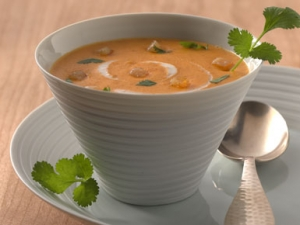Coconut Carrot Soup With Candied Ginger And Green Core
