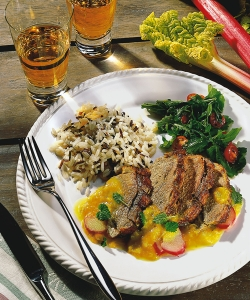 Duck breast with wild rice blend