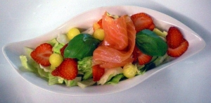 Entree Salad With Pineapple Melon Smoked Salmon And Marinated Salmon