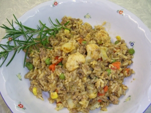 Fried Rice With Asian Vegetables And Minced