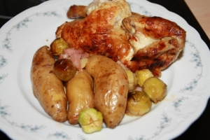 Juicy Roast Chicken With Roast Side Dishes