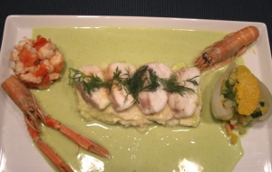 Lotte Langostino Ragout With Brandade Parsley And Anise And Fennel Sauce Pan