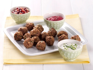 Meatballs with three dips