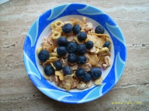 Mslimix with yoghurt and blueberries