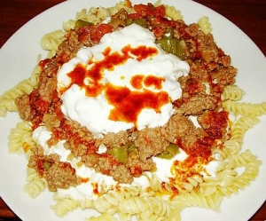 Pasta In Meat Sauce With Yogurt