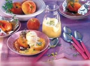 Peaches From The Foil With Pistachio Sabayon