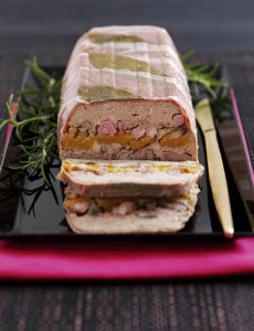 Pheasant Terrine With Liver Farce Chestnuts And Dried Apricots