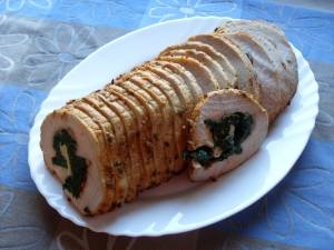 Roast Pork Loin With Spinach And Nettle Pesto