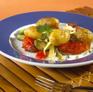 Sherry Potatoes With Roasted Vegetables