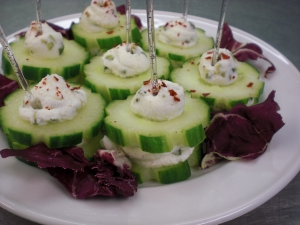 Cucumber sandwiches with chive goat cheese and chili