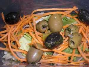Carrot Salad With Mixed Olives And Pesto Dressing